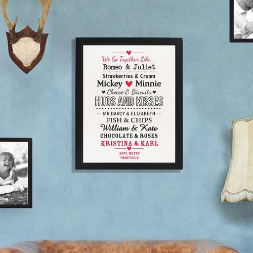 Personalised We Go Together Like Black Poster Frame